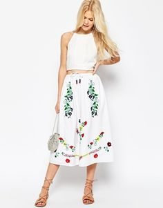 ASOS Embroidered Midi Skirt