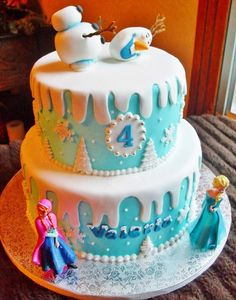 This cake is awesome! Disney Frozen Birthday Cake for Kids, Blue Birthday Cake Ideas, Cartoon Kids Birthday Party Ideas