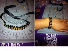bracelet ruban et perles or / ribbon and gold pearls bracelet