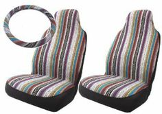 Baja Inca Saddle Blanket High Back Bucket Seat Covers Pair with Steering Wheel Cover Set : Amazon.com : Automotive