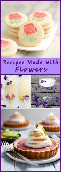 Check out these beautiful recipes made with edible flowers. Baking Recipes, Cookie Recipes, Dessert Recipes, Party Recipes, Holiday Recipes, Just Desserts, Sweet Desserts, Flower Food, Special Recipes