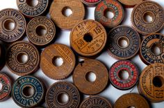 Wooden Spools ...creative wall art...not this print