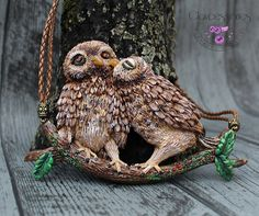 Owl necklace Bird necklace Love Necklace by claycessories on Etsy
