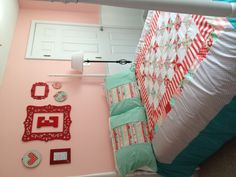 Evelyn's big girl room! Red, teal and pink.