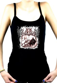 Satanic Baphomet Goat Devil Women's Spaghett Strap Shirt Top