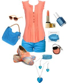 """Summer Tom's"" by in2song on Polyvore. It's a bit much, but it's still so darn cute for summer! I'd probably keep the accessories to a minimum (rather than the same blues, I'd keep them in the metallic/neutral family - gold jewelry,  black tote bag, etc.) & let the rest of the outfit pop on its own."