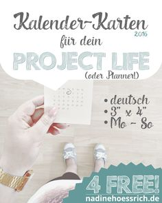 kostenlose Project Life Kalenderkarten 2016 in deutsch zum ausdrucken…