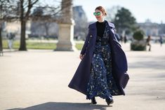 84 Outfit Ideas For Style Extroverts #refinery29  http://www.refinery29.com/2015/03/83675/paris-fashion-week-2015-street-style#slide-22  A floor-length maxi like Christene Barberich's only looks more dramatic with a floor-length coat.Tia Cibani Kaftan Billow Midi Gown, $780, available at Tia Cibani