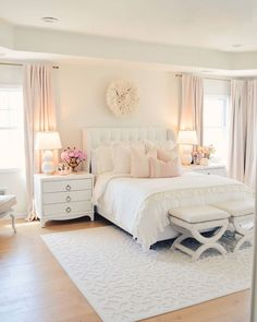 My all white master bedroom recently got a mini makeover for spring and I'm so excited to share with you guys. how to decorate with white. bedroom furniture Elegant White Master Bedroom & Blush Decorative Pillows - The Pink Dream Cute Bedroom Ideas, Girl Bedroom Designs, Room Ideas Bedroom, Home Decor Bedroom, Dream Bedroom, Pink Master Bedroom, Pretty Bedroom, Bed Rooms, Light Pink Bedrooms