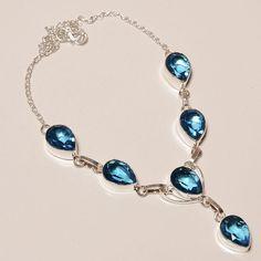 DASHING FACETED SWISS BLUE TOPAZ .925 SILVER HANDMADE NECKLACE JEWELRY JA595 #Handmade