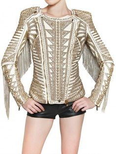 BALMAIN  Embroidered white and gold Nappa Biker Leather Jacket over black leather shorts