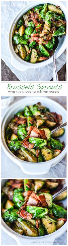 (5 Ingredients) Sautéed Brussels Sprouts with Bacon and Caramelized Onions
