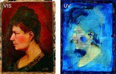 FAKE! The oil painting on the left fluoresces when exposed to ultraviolet light (right), but evidence of signature forgery remained unseen until a new non-invasive imaging technique was used. © Waldemar Grzesik, Institute for the Study, Restoration and Conservation of Cultural Heritage, Nicolaus Copernicus University