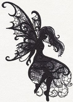 Dark creatures - fairy urban threads: unique and awesome emb Fairy Tattoo Designs, Dragon Tattoo Designs, Lace Tattoo Design, Tattoos Skull, Body Art Tattoos, Urban Tattoos, Tatoos, Embroidery Services, Embroidery Designs