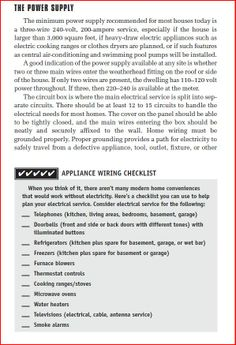 appliance wiring checklist 2 of 2 home electrical wiring power rh pinterest com Air Conditioning Service Checklist Residential Home Checklist