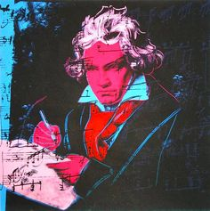 Beethoven 392 by Andy Warhol.Beethoven meets Andy Warhol in the colorful Beethoven Series. One of his most renowned collections, Warhol captures Beethoven like no one else. Andy Warhol Pop Art, Andy Warhol Portraits, Photo Star, Kunst Poster, Arte Pop, Illustrations, Face Art, Oeuvre D'art, American Artists