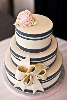 Beautiful striped cake---clean simple lines and a cute cabbage rose; loving it!