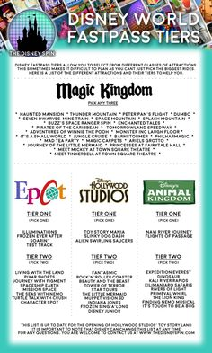 The Disney Spin Disney Fastpass Tier Cheat Sheet Fastpasses in 2019 - which ones should you get? We know its hard work planning your WDW vacation, so we take a look at the best plans for Voyage Disney World, Fastpass Disney World, Viaje A Disney World, Disney World Vacation Planning, Disney World Florida, Walt Disney World Vacations, Disney World Trip, Disney Worlds, Disney Travel
