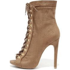 a029c26a1a4 Gemini Taupe Suede Lace-Up High Heel Booties ( 39) ❤ liked on Polyvore