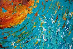 """""""Not Afraid In The Midst (No. 4)"""" 8""""x8"""" (20cm x 20cm) Abstract, by Colors Of Cynthia Christine Oil on Canvas Palette Knife Painting. This is the fourth of a series of """"water"""" or """"space"""" abstracts depending on how you look at it! When I approach the titling of a piece.....as always...the motive for my work comes to the surface. Concepts, ideas, and messages. Indeed, I sensed a freedom from worry about the future while painting."""