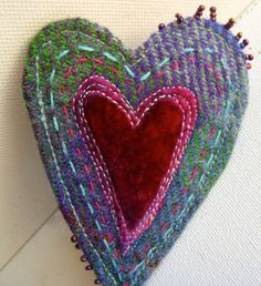 Harris Tweed Heart Brooch