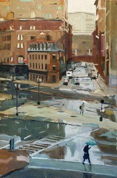 """Towards North Station,"" John Bonner, oil on linen, 36 1/2 x 24 1/2"", McGowan Fine Art."