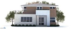 Modern house plan, three bedrooms, large living room, separate dining & lounge, two floors, covered terrace.