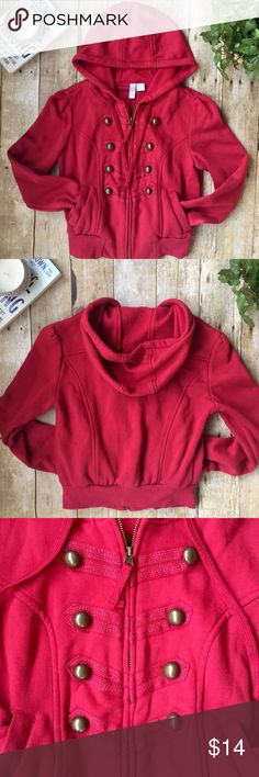 Military Button Zip Hoodie Coat Berry Red/Pink S/M Military Button Zip Hoodie Coat Berry Red/Pink S/M  • Size Medium but runs small • Very soft, fleecy-feeling interior lining • Bright berry reddish-pink • Military-style buttons & detailing w/ subtle silver threading • Front pockets • Drawstring hood • Full Zip • Cotton/polyester • Brand: Max Rave • Seam near armpit has some loose threads- pictured • No other imperfections • Excellent Used Condition  Make an offer! Sorry, no trades! ❤️ Max…