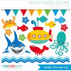 Clipart - Under the Sea (#2) / Shark / Submarine - Digital Clip Art (Instant Download)