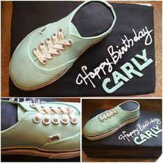 Shoe cake I made! Carly likes mint green shoes, so I made a shoe box cake and a cake shoe with fondant, modeled after some shoes she has!