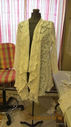 Upcycled jacket sewn from holey vintage Quaker Maid tablecloth  New things from old things......