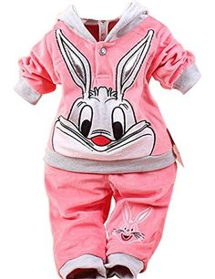 Children Clothing Set Cartoon Bunny Twinset Long Sleeve Hoodie and Pant size 8 for baby aged 1 Watermelon Red *** Details can be found by clicking on the image. (This is an affiliate link) #BabyGirlHoodiesActive