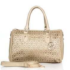 Michael Kors Grayson Perforated Logo Large Apricot Satchels