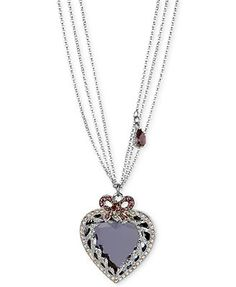 Betsey Johnson Necklace, Antique Silver-Tone Crystal Heart Pendant Long Necklace