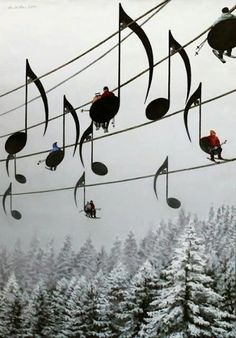 I bet the people in it dont mind being seen as notes!    Music Note Ski Lifts in France  via Beautiful Design