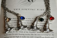 Harry Potter Sorting Hat Necklace,Gryffindor Slytherin Ravenclaw Hufflepuff Jewelry, Harry Potter Gift