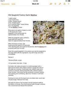 Old Speghetti Factory Garlic Mizithra
