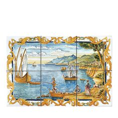 Hand-painted Ceramic and Marble Tiles - Artemest Hearth Tiles, Artistic Tile, Marble Tiles, Seaside Towns, Hand Painted Ceramics, Amalfi Coast, Life Images, Small Towns, Vintage World Maps