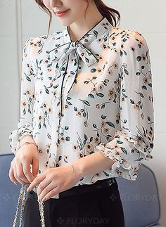 Blouses - $39.38 - Floral Casual Chiffon 3/4 Sleeves Blouses (1645208255)