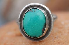 Vintage Navajo 925 Sterling Silver & Turquoise Ring for Child or Pinky Size 3 1/2