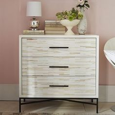 Wood Tiled 3-Drawer Dresser as night stand and storage.