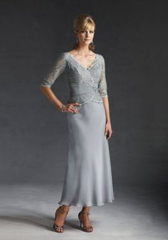 Holy Gray V-neck Column 1/2 Sleeves Beading Lace Chiffon Ankle Length Mother of Groom Dresses (MGD-061)