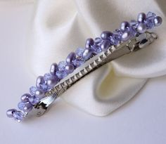purple hair barrette - lavender lilac purple freshwater pearl and crystal hair barrette clip slide pin for wedding or prom silver