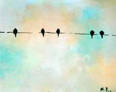 Birds on a wire 111 original oil on canvas by Natureandart