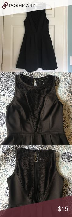 Black Dynamite Dress I purchased this dress at a store in Canada called Dynamite. I've only worn it once, it's a little bit big on me. It features a laced front and an open and laced back. It would be a beautiful dress for the holidays! i am open to offers ☺️ Dynamite Dresses Backless