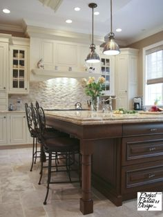 kitchen ideas by susieteague. I like the white with the dark wood island.