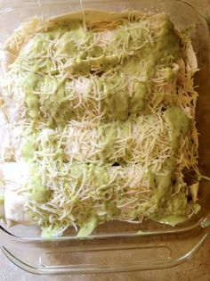 Cilantro Lime Chicken Enchiladas with Avocado cream sauce...yum! Can't wait to try this!