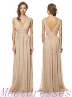 fa6b5696274 Online Shop Hot Sexy 2014 Simple V Neck Champagne Chiffon Long Bridesmaid  Dresses Backless Formal Gowns Beach Bridesmaid Dress For Weddings