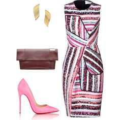 A fashion look from May 2016 by heliaamado featuring Prabal Gurung, Christian Louboutin, Victoria Beckham and Stephanie Kantis Classy Outfits, Cool Outfits, Work Fashion, Fashion Looks, Dress To Impress, Polyvore Fashion, What To Wear, Womens Fashion, Fashion Trends