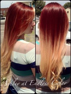 Red to blonde ombre!